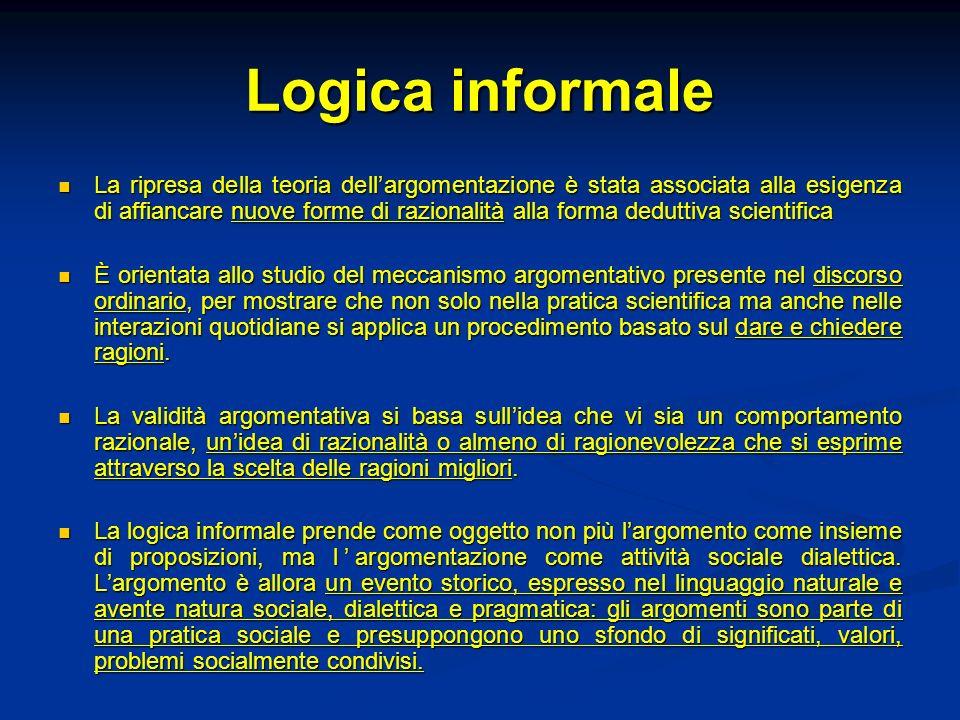 Logica informale La ripresa della teoria dellargomentazione è stata associata alla esigenza di affiancare nuove forme di razionalità alla forma dedutt