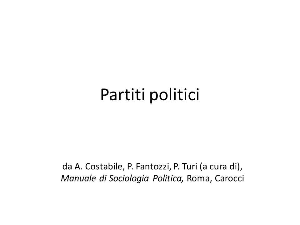 Partiti politici da A. Costabile, P. Fantozzi, P. Turi (a cura di), Manuale di Sociologia Politica, Roma, Carocci