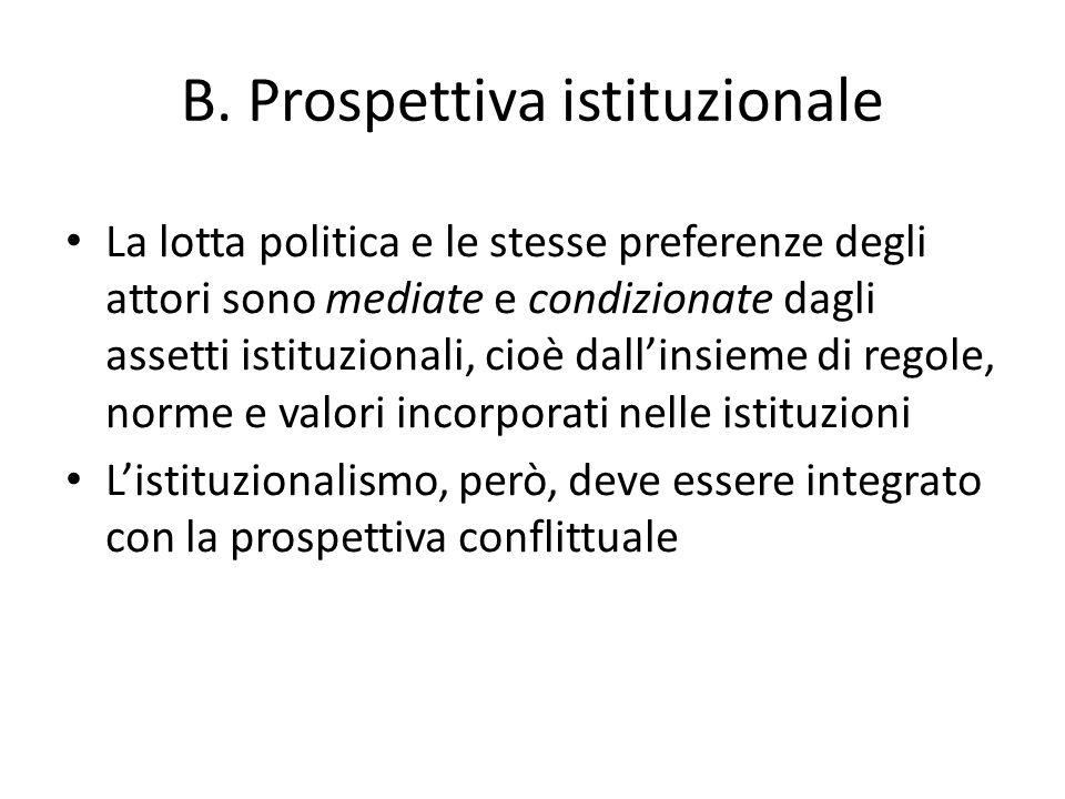 B. Prospettiva istituzionale La lotta politica e le stesse preferenze degli attori sono mediate e condizionate dagli assetti istituzionali, cioè dalli