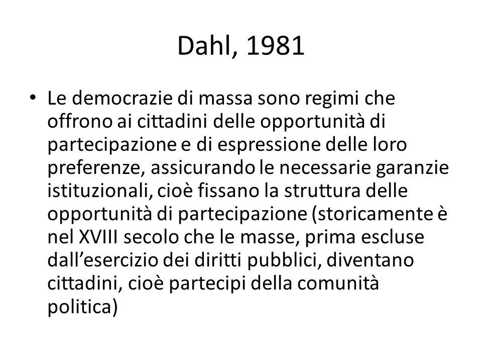 Dahl, 1981 Le democrazie di massa sono regimi che offrono ai cittadini delle opportunità di partecipazione e di espressione delle loro preferenze, ass