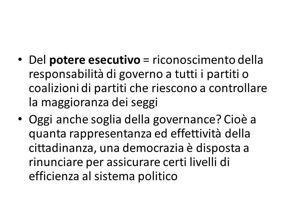 Del potere esecutivo = riconoscimento della responsabilità di governo a tutti i partiti o coalizioni di partiti che riescono a controllare la maggiora