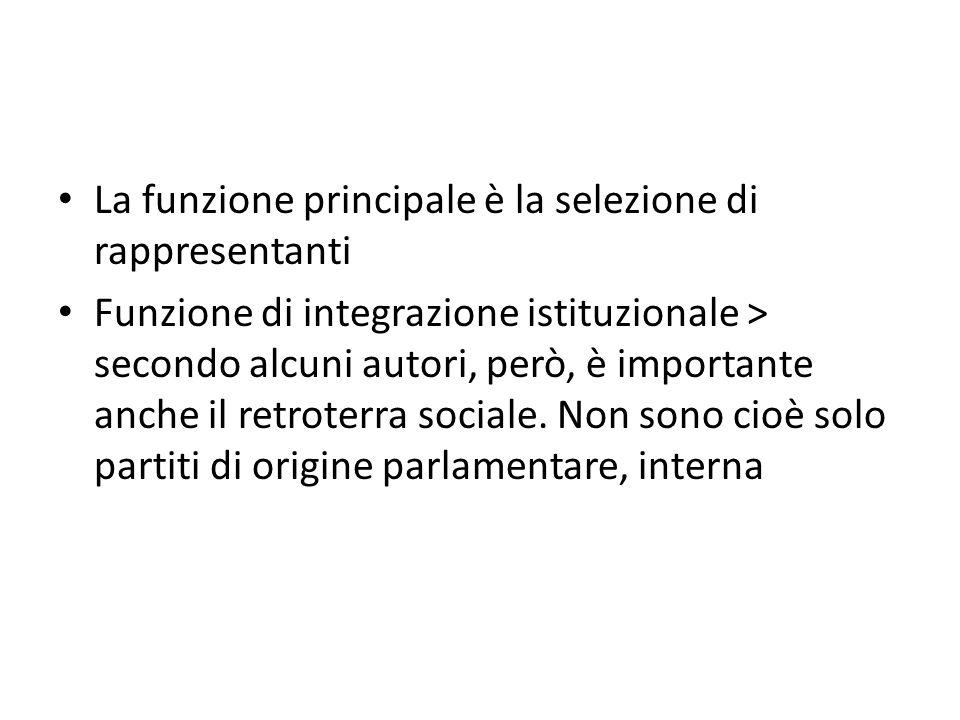 La funzione principale è la selezione di rappresentanti Funzione di integrazione istituzionale > secondo alcuni autori, però, è importante anche il re