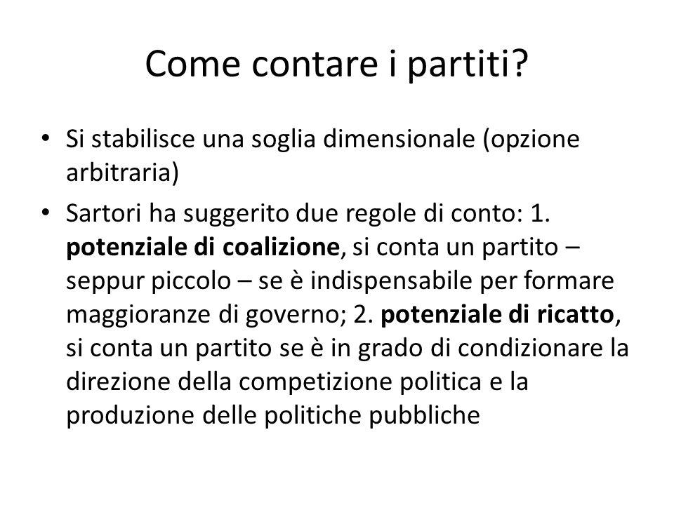 Come contare i partiti? Si stabilisce una soglia dimensionale (opzione arbitraria) Sartori ha suggerito due regole di conto: 1. potenziale di coalizio