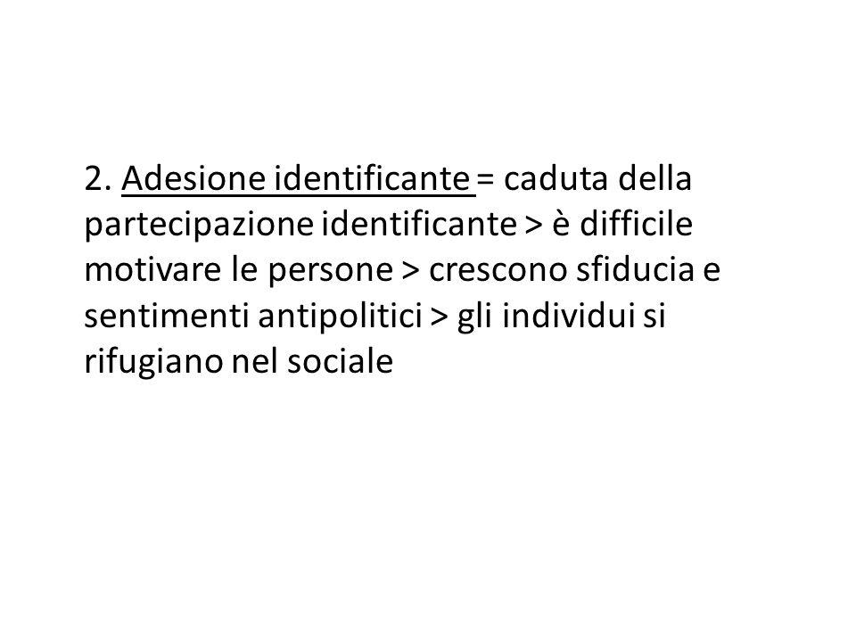 2. Adesione identificante = caduta della partecipazione identificante > è difficile motivare le persone > crescono sfiducia e sentimenti antipolitici