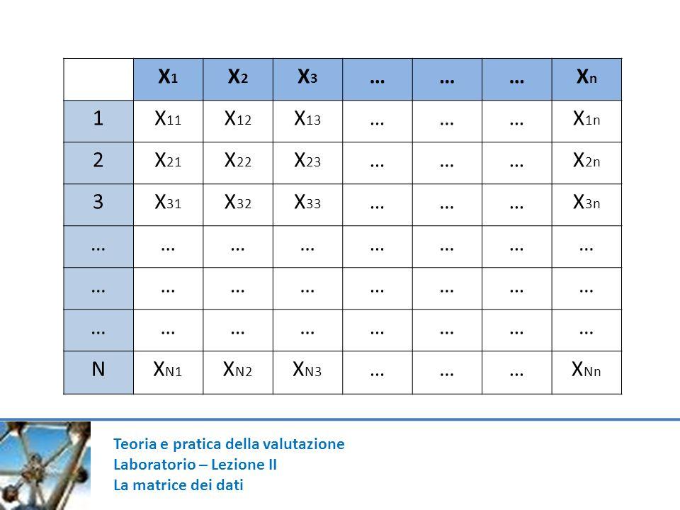 Teoria e pratica della valutazione Laboratorio – Lezione II La matrice dei dati X1X1 X2X2 X3X3 ………XnXn 1X 11 X 12 X 13 ………X 1n 2X 21 X 22 X 23 ………X 2n 3X 31 X 32 X 33 ………X 3n …………………… …………………… …………………… NX N1 X N2 X N3 ………X Nn