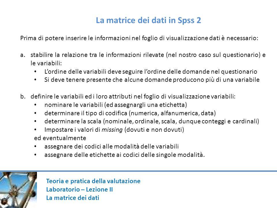 Teoria e pratica della valutazione Laboratorio – Lezione II La matrice dei dati Prima di potere inserire le informazioni nel foglio di visualizzazione