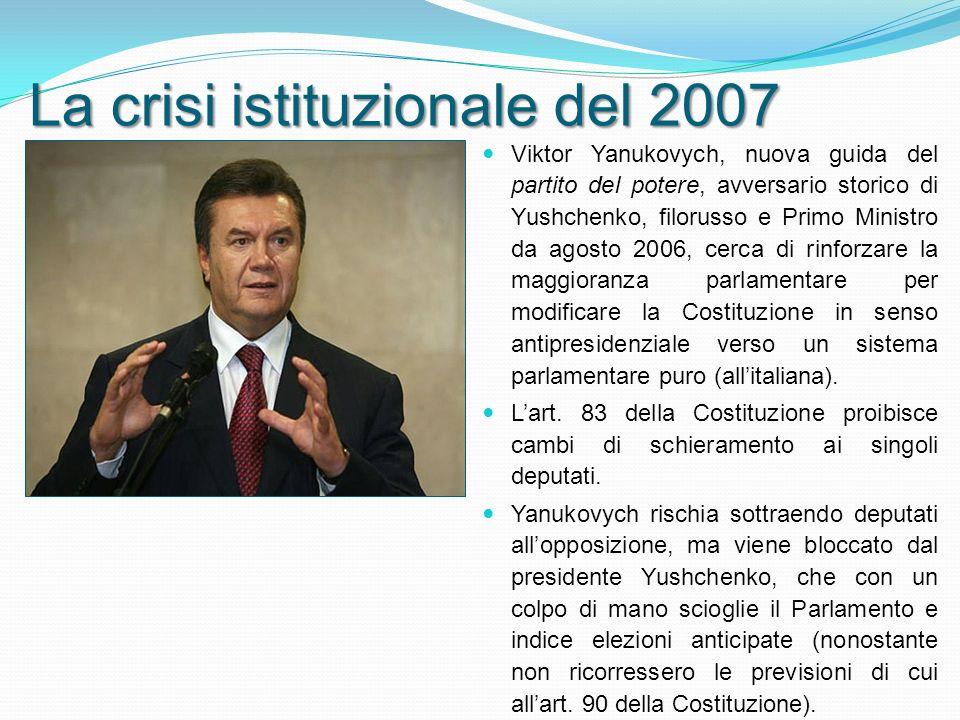 Viktor Yanukovych, nuova guida del partito del potere, avversario storico di Yushchenko, filorusso e Primo Ministro da agosto 2006, cerca di rinforzare la maggioranza parlamentare per modificare la Costituzione in senso antipresidenziale verso un sistema parlamentare puro (allitaliana).