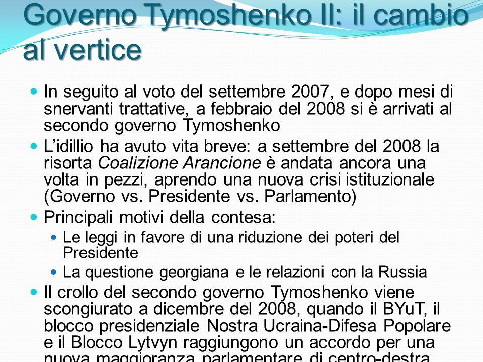 Governo Tymoshenko II: il cambio al vertice In seguito al voto del settembre 2007, e dopo mesi di snervanti trattative, a febbraio del 2008 si è arrivati al secondo governo Tymoshenko Lidillio ha avuto vita breve: a settembre del 2008 la risorta Coalizione Arancione è andata ancora una volta in pezzi, aprendo una nuova crisi istituzionale (Governo vs.