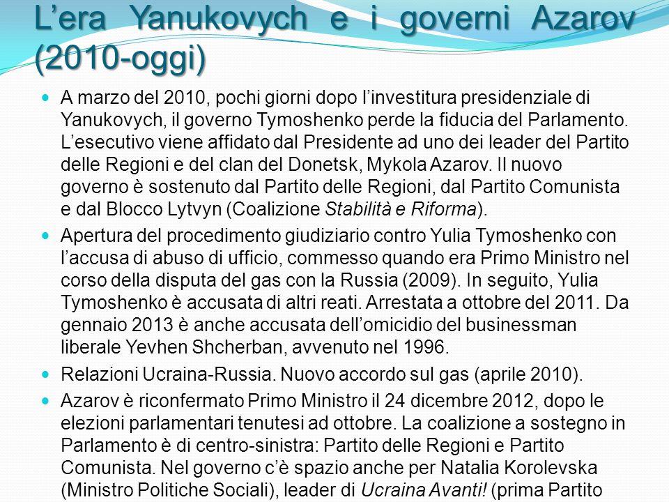 Lera Yanukovych e i governi Azarov (2010-oggi) A marzo del 2010, pochi giorni dopo linvestitura presidenziale di Yanukovych, il governo Tymoshenko perde la fiducia del Parlamento.
