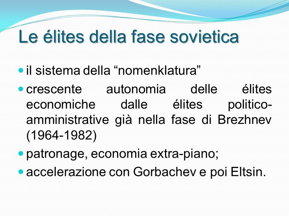 Le élites della fase sovietica il sistema della nomenklatura crescente autonomia delle élites economiche dalle élites politico- amministrative già nella fase di Brezhnev (1964-1982) patronage, economia extra-piano; accelerazione con Gorbachev e poi Eltsin.