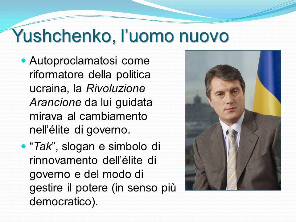 Yushchenko, luomo nuovo Autoproclamatosi come riformatore della politica ucraina, la Rivoluzione Arancione da lui guidata mirava al cambiamento nellélite di governo.
