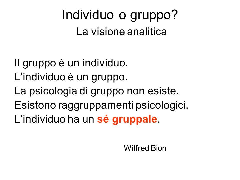 Individuo o gruppo? La visione analitica Il gruppo è un individuo. Lindividuo è un gruppo. La psicologia di gruppo non esiste. Esistono raggruppamenti