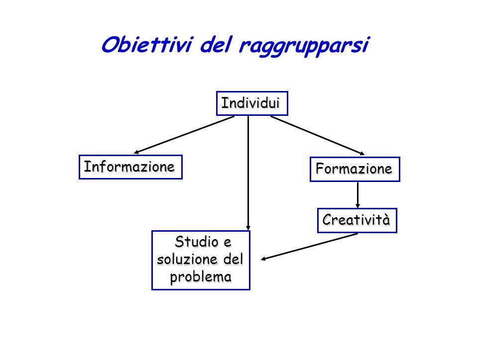 Obiettivi del raggrupparsi Individui Informazione Formazione Creatività Studio e Studio e soluzione del problema problema