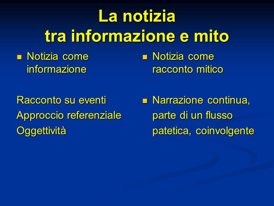 La notizia tra informazione e mito Notizia come informazione Notizia come informazione Racconto su eventi Approccio referenziale Oggettività Notizia c