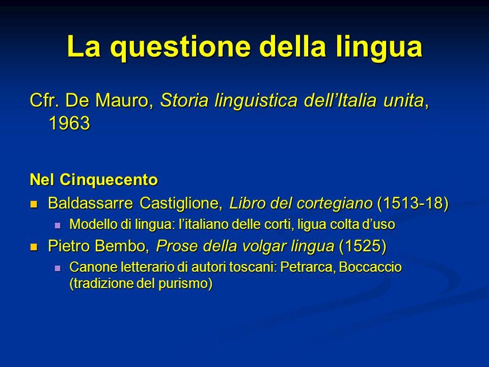 La questione della lingua Cfr. De Mauro, Storia linguistica dellItalia unita, 1963 Nel Cinquecento Baldassarre Castiglione, Libro del cortegiano (1513