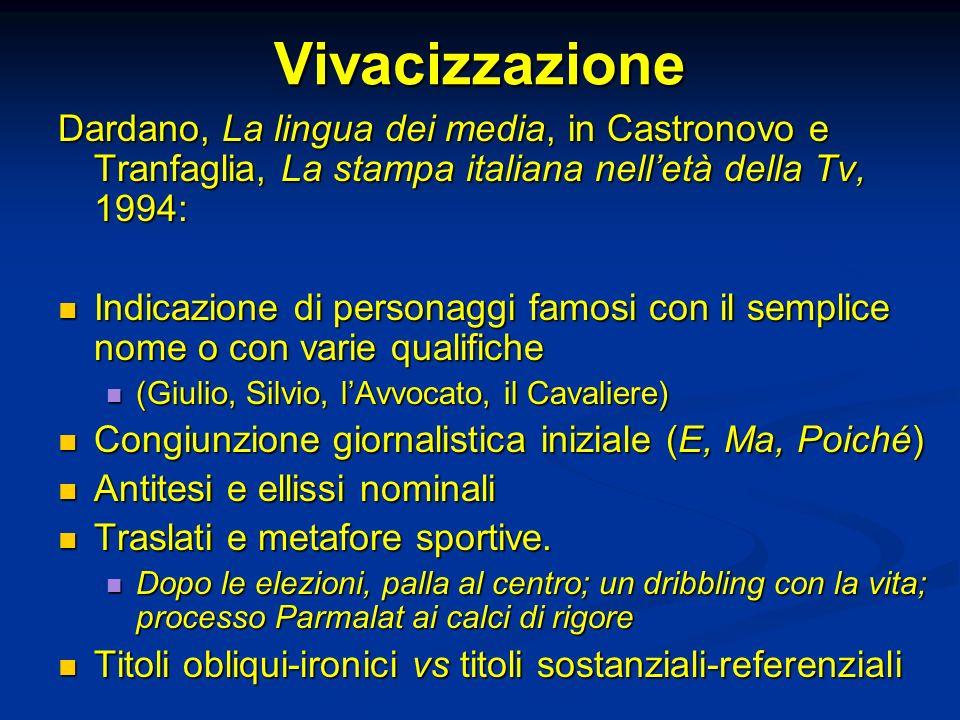 Vivacizzazione Dardano, La lingua dei media, in Castronovo e Tranfaglia, La stampa italiana nelletà della Tv, 1994: Indicazione di personaggi famosi c