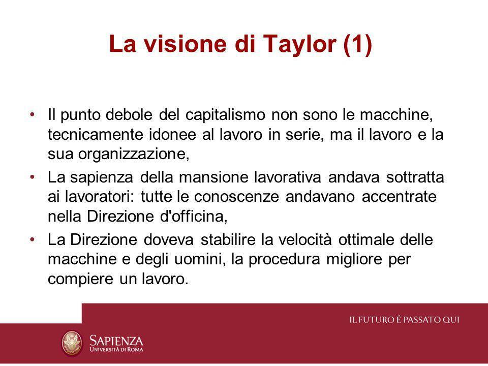 La visione di Taylor (1) Il punto debole del capitalismo non sono le macchine, tecnicamente idonee al lavoro in serie, ma il lavoro e la sua organizza