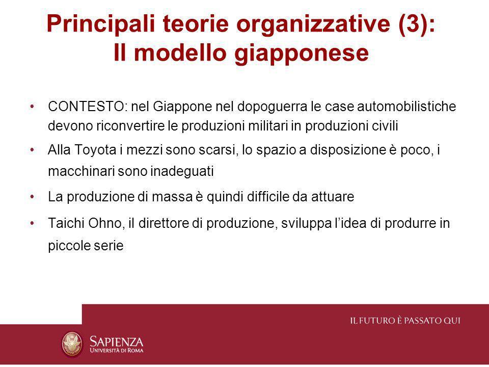 Principali teorie organizzative (3): Il modello giapponese CONTESTO: nel Giappone nel dopoguerra le case automobilistiche devono riconvertire le produ