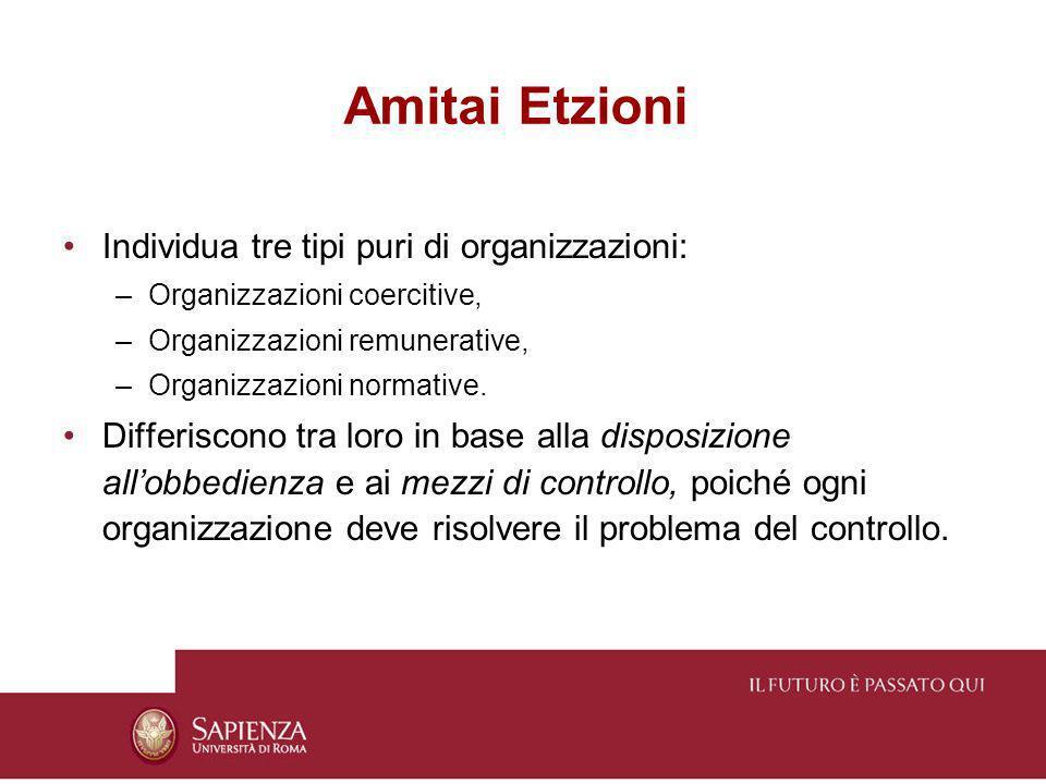 Amitai Etzioni Individua tre tipi puri di organizzazioni: –Organizzazioni coercitive, –Organizzazioni remunerative, –Organizzazioni normative. Differi