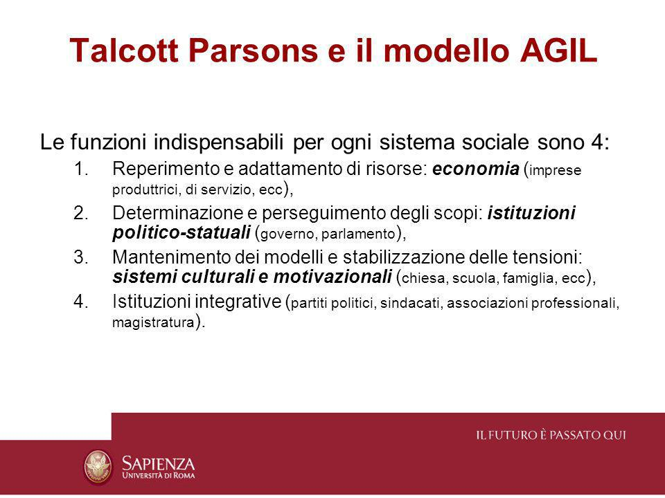 Talcott Parsons e il modello AGIL Le funzioni indispensabili per ogni sistema sociale sono 4: 1.Reperimento e adattamento di risorse: economia ( impre