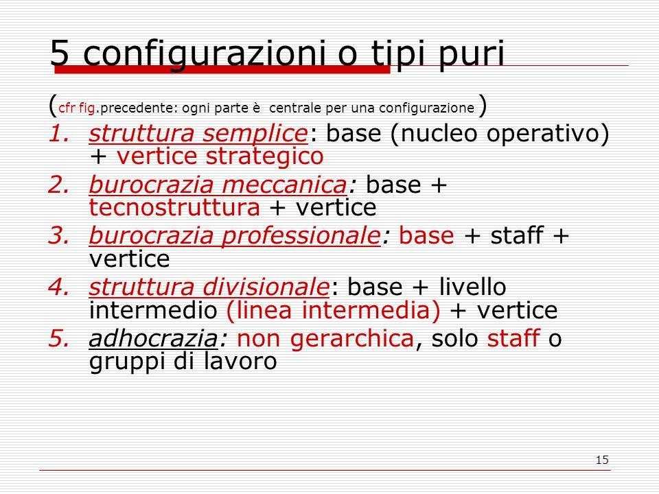 15 5 configurazioni o tipi puri ( cfr fig.precedente: ogni parte è centrale per una configurazione ) 1.struttura semplice: base (nucleo operativo) + v