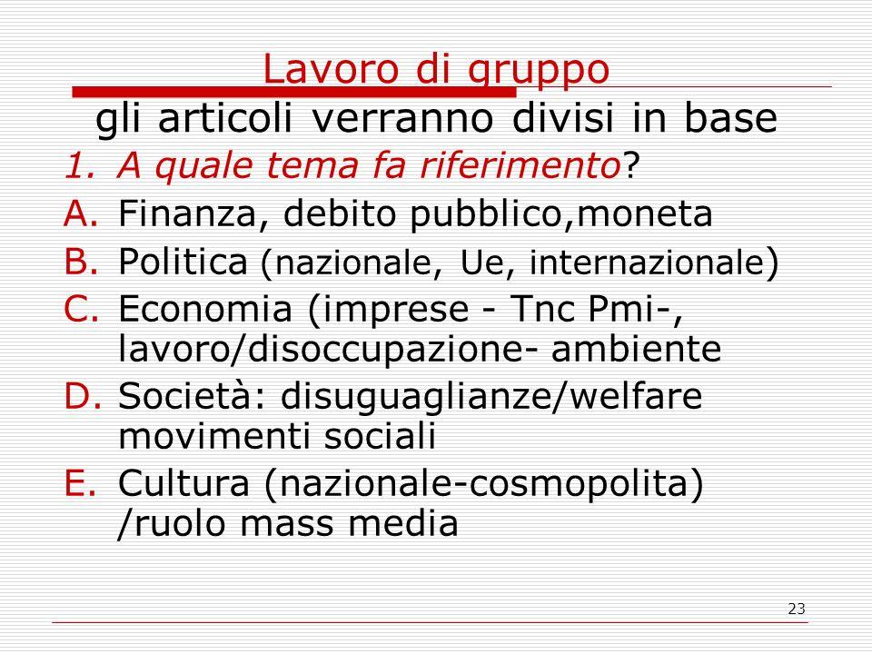 23 Lavoro di gruppo gli articoli verranno divisi in base 1.A quale tema fa riferimento? A.Finanza, debito pubblico,moneta B.Politica (nazionale, Ue, i