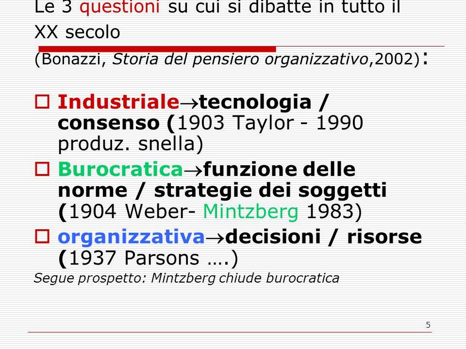 5 Le 3 questioni su cui si dibatte in tutto il XX secolo (Bonazzi, Storia del pensiero organizzativo,2002) : Industrialetecnologia / consenso (1903 Ta