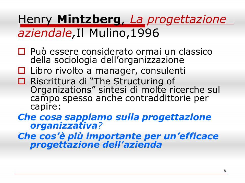 9 Henry Mintzberg, La progettazione aziendale,Il Mulino,1996 Può essere considerato ormai un classico della sociologia dellorganizzazione Libro rivolt