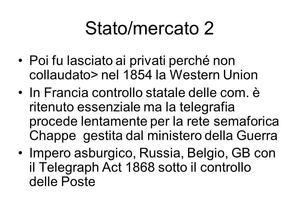 Stato/mercato 2 Poi fu lasciato ai privati perché non collaudato> nel 1854 la Western Union In Francia controllo statale delle com.