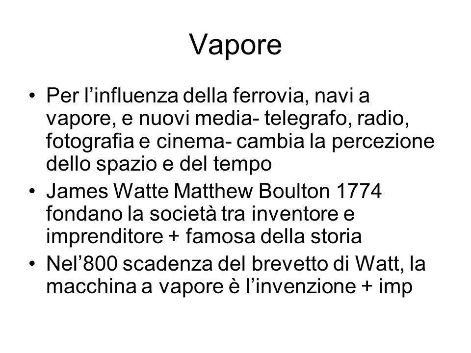 Vapore Per linfluenza della ferrovia, navi a vapore, e nuovi media- telegrafo, radio, fotografia e cinema- cambia la percezione dello spazio e del tempo James Watte Matthew Boulton 1774 fondano la società tra inventore e imprenditore + famosa della storia Nel800 scadenza del brevetto di Watt, la macchina a vapore è linvenzione + imp