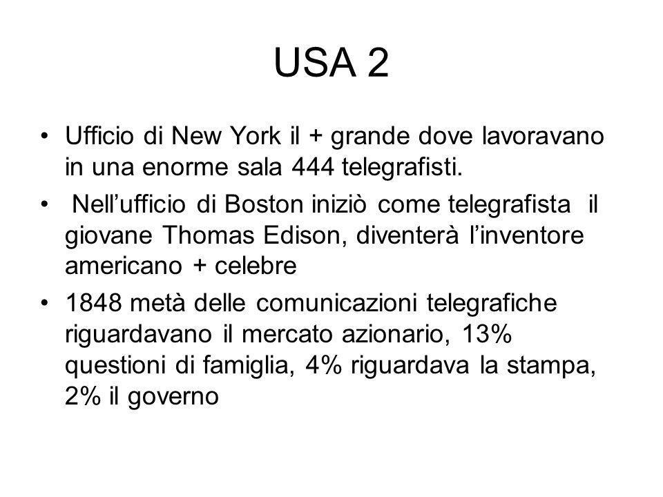 USA 2 Ufficio di New York il + grande dove lavoravano in una enorme sala 444 telegrafisti.