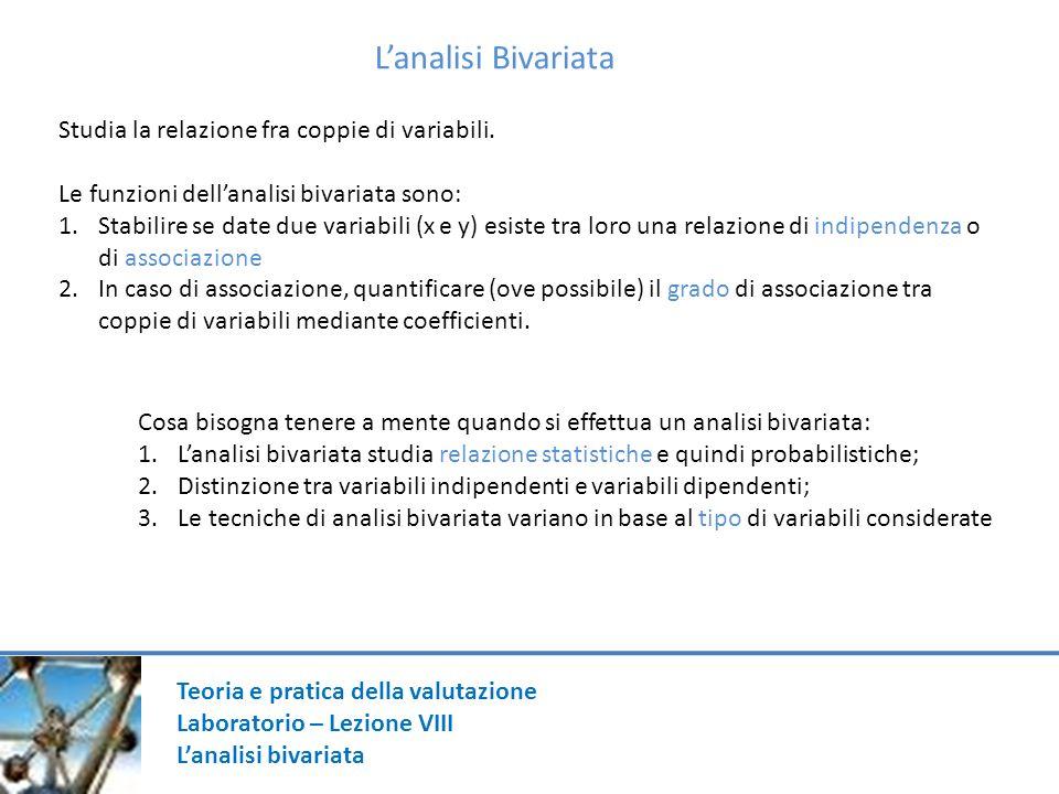 Teoria e pratica della valutazione Laboratorio – Lezione VIII Lanalisi bivariata Lanalisi Bivariata Studia la relazione fra coppie di variabili.