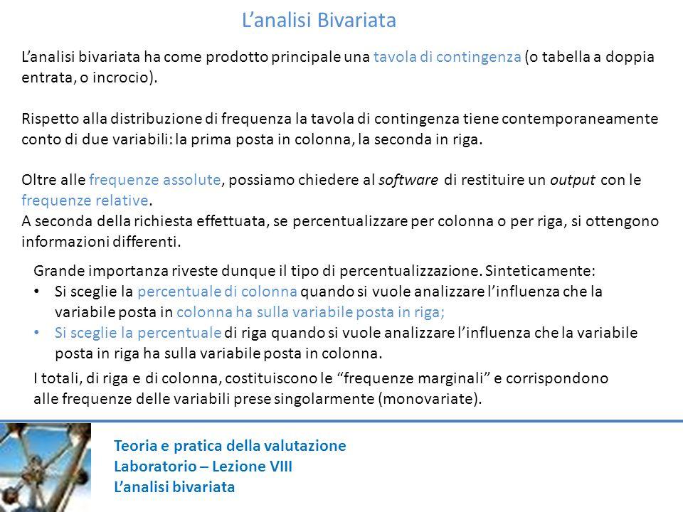 Teoria e pratica della valutazione Laboratorio – Lezione VIII Lanalisi bivariata Lanalisi Bivariata Lanalisi bivariata ha come prodotto principale una tavola di contingenza (o tabella a doppia entrata, o incrocio).