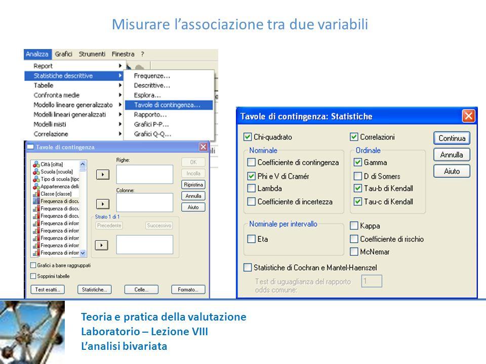 Teoria e pratica della valutazione Laboratorio – Lezione VIII Lanalisi bivariata Misurare lassociazione tra due variabili