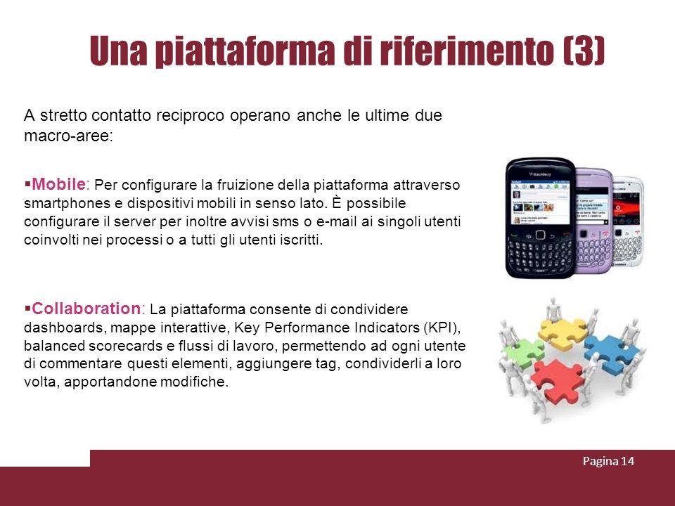 Una piattaforma di riferimento (3) A stretto contatto reciproco operano anche le ultime due macro-aree: Mobile: Per configurare la fruizione della piattaforma attraverso smartphones e dispositivi mobili in senso lato.