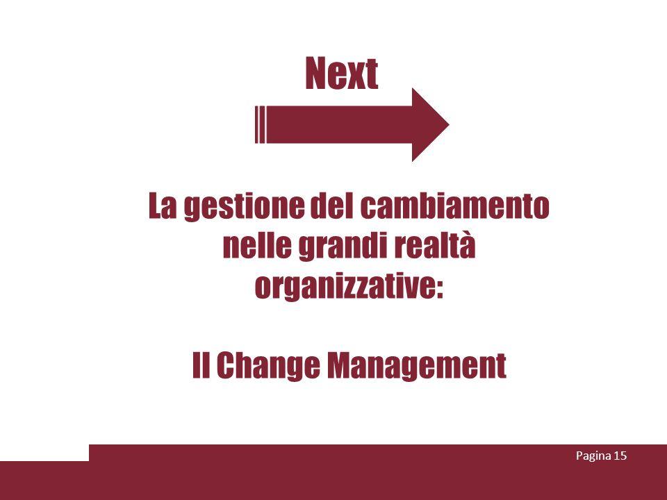 Next Pagina 15 La gestione del cambiamento nelle grandi realtà organizzative: Il Change Management
