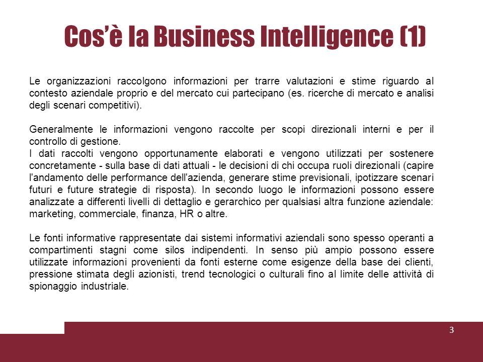 Cosè la Business Intelligence (1) 3 Le organizzazioni raccolgono informazioni per trarre valutazioni e stime riguardo al contesto aziendale proprio e del mercato cui partecipano (es.