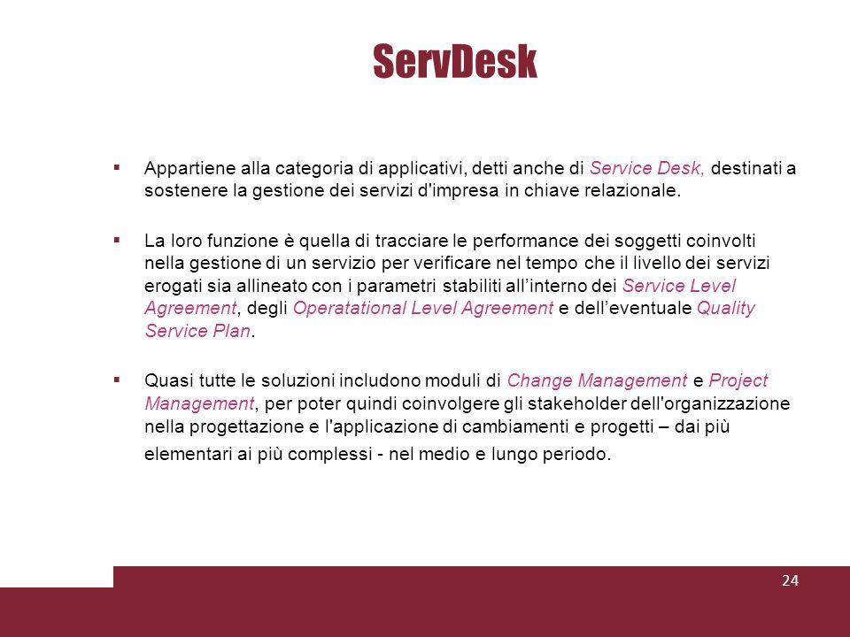 ServDesk Appartiene alla categoria di applicativi, detti anche di Service Desk, destinati a sostenere la gestione dei servizi d impresa in chiave relazionale.