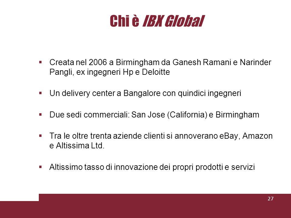 Chi è IBX Global Creata nel 2006 a Birmingham da Ganesh Ramani e Narinder Pangli, ex ingegneri Hp e Deloitte Un delivery center a Bangalore con quindici ingegneri Due sedi commerciali: San Jose (California) e Birmingham Tra le oltre trenta aziende clienti si annoverano eBay, Amazon e Altissima Ltd.
