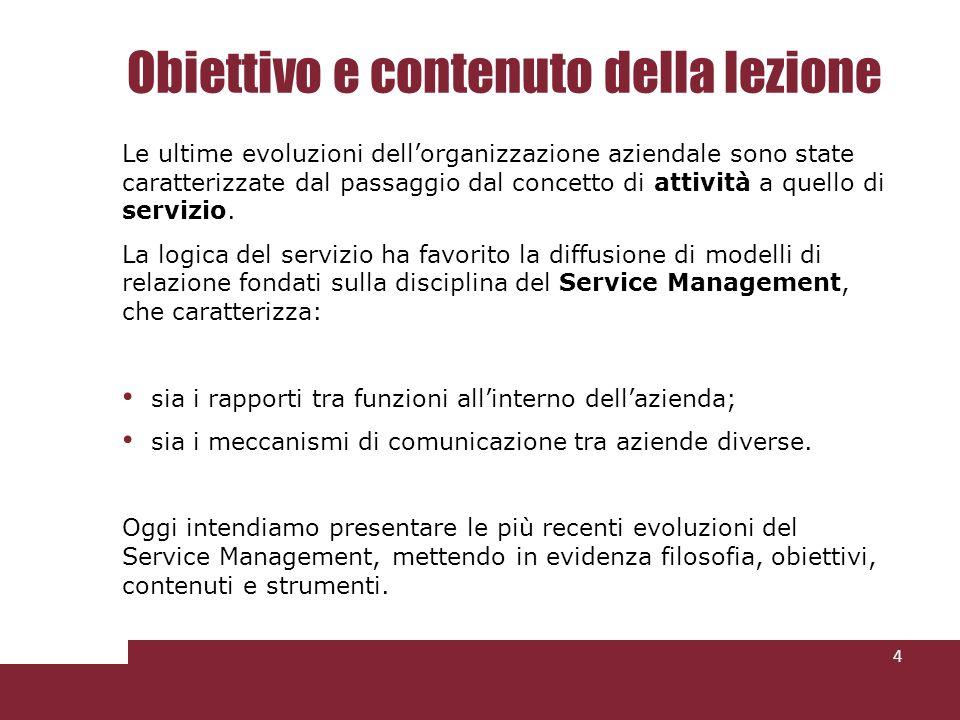 Obiettivo e contenuto della lezione 4 Le ultime evoluzioni dellorganizzazione aziendale sono state caratterizzate dal passaggio dal concetto di attività a quello di servizio.