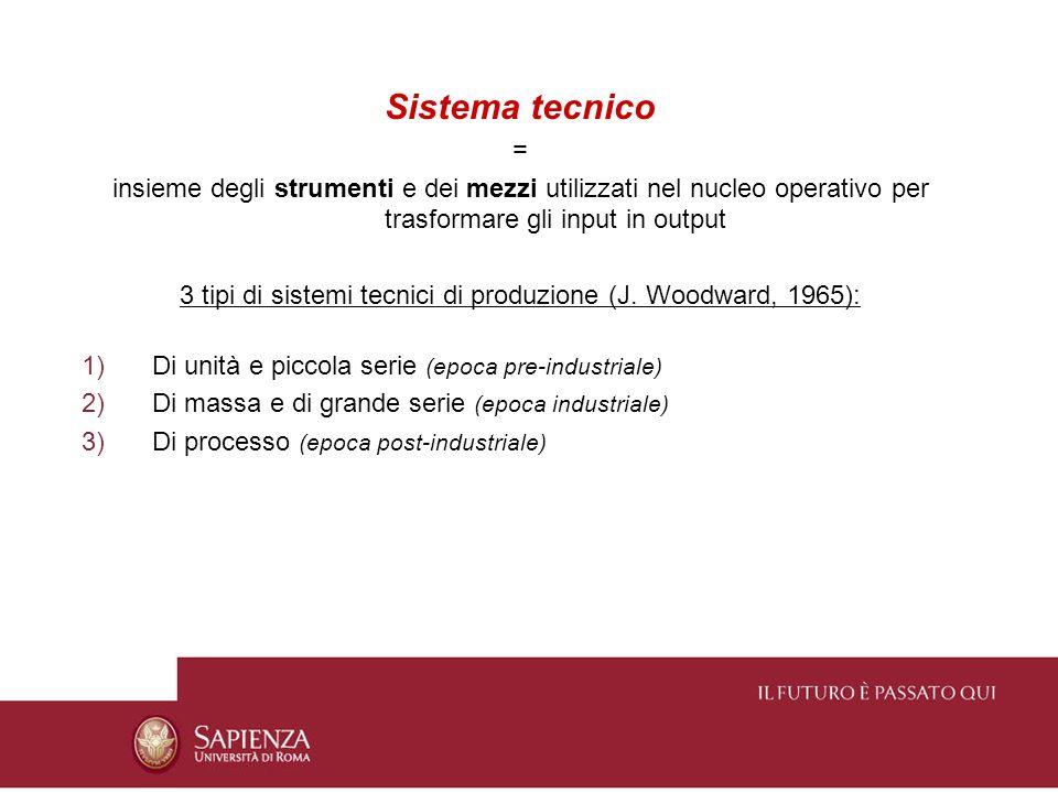 Sistema tecnico = insieme degli strumenti e dei mezzi utilizzati nel nucleo operativo per trasformare gli input in output 3 tipi di sistemi tecnici di
