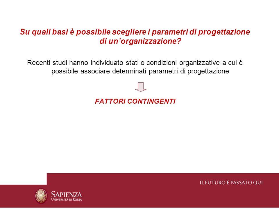 Limportanza dei fattori contingenti è strettamente correlata al concetto di efficacia organizzativa Il livello di performance di unorganizzazione dipende dalla congruenza fra parametri di progettazione e fattori situazionali e dalla coerenza interna fra il complesso dei parametri di progettazione