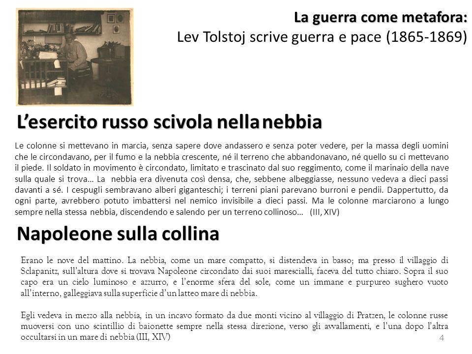 La guerra come metafora: La guerra come metafora: Lev Tolstoj scrive guerra e pace (1865-1869) Le colonne si mettevano in marcia, senza sapere dove an