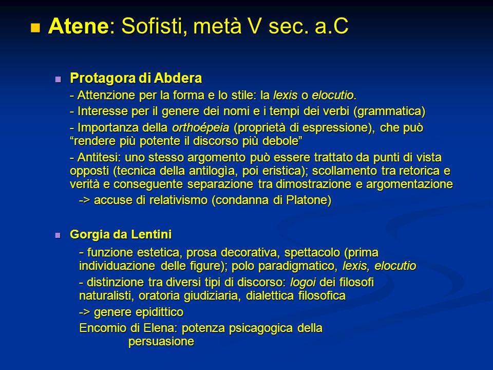 Atene: Sofisti, metà V sec.a.C Atene: Sofisti, metà V sec.