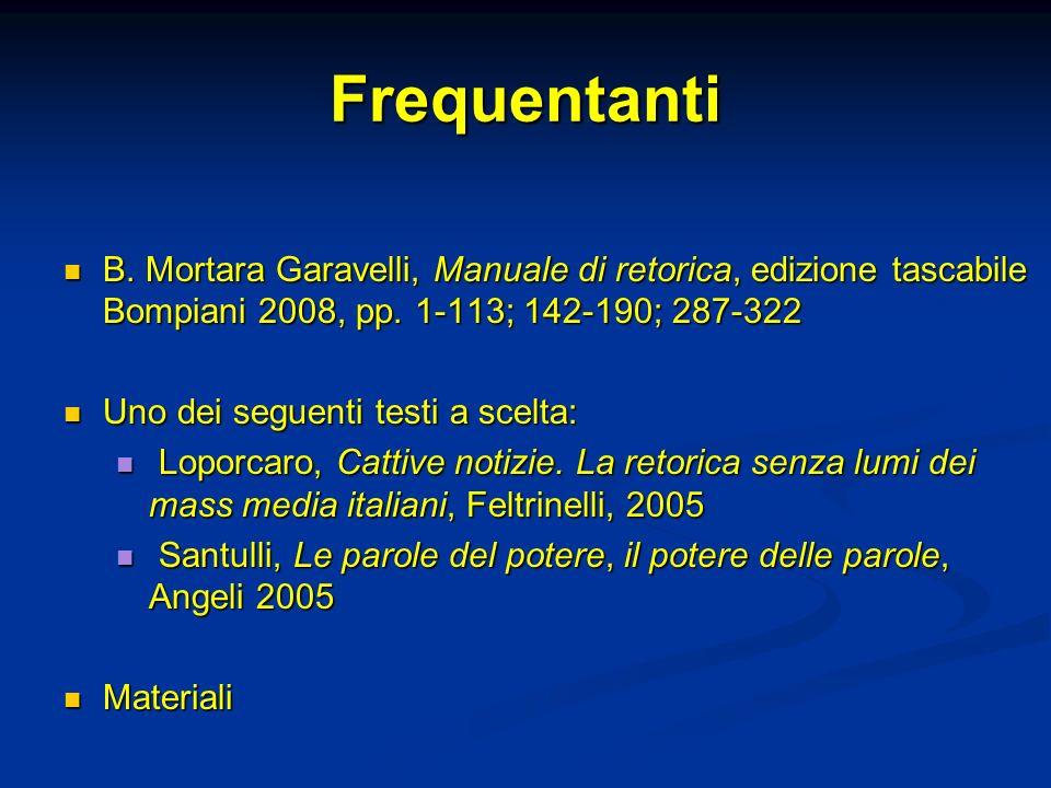 Frequentanti B.Mortara Garavelli, Manuale di retorica, edizione tascabile Bompiani 2008, pp.