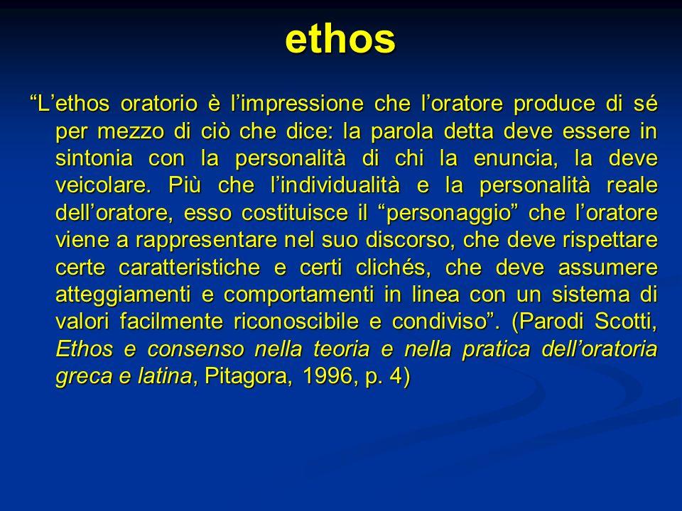 ethos Lethos oratorio è limpressione che loratore produce di sé per mezzo di ciò che dice: la parola detta deve essere in sintonia con la personalità di chi la enuncia, la deve veicolare.