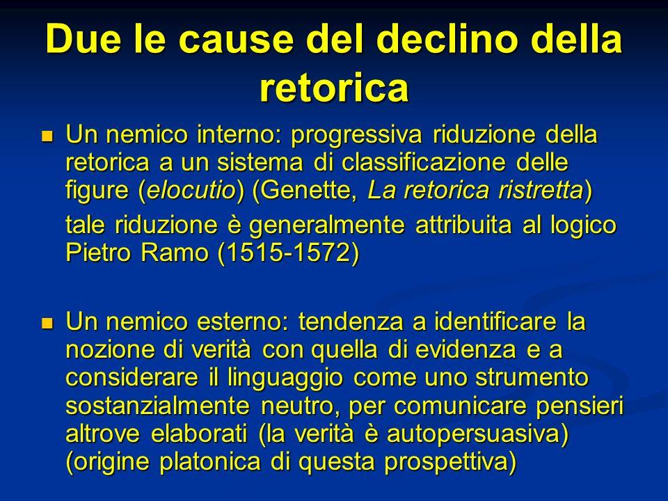 Due le cause del declino della retorica Un nemico interno: progressiva riduzione della retorica a un sistema di classificazione delle figure (elocutio) (Genette, La retorica ristretta) Un nemico interno: progressiva riduzione della retorica a un sistema di classificazione delle figure (elocutio) (Genette, La retorica ristretta) tale riduzione è generalmente attribuita al logico Pietro Ramo (1515-1572) Un nemico esterno: tendenza a identificare la nozione di verità con quella di evidenza e a considerare il linguaggio come uno strumento sostanzialmente neutro, per comunicare pensieri altrove elaborati (la verità è autopersuasiva) (origine platonica di questa prospettiva) Un nemico esterno: tendenza a identificare la nozione di verità con quella di evidenza e a considerare il linguaggio come uno strumento sostanzialmente neutro, per comunicare pensieri altrove elaborati (la verità è autopersuasiva) (origine platonica di questa prospettiva)