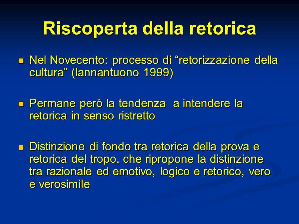 Riscoperta della retorica Nel Novecento: processo di retorizzazione della cultura (Iannantuono 1999) Nel Novecento: processo di retorizzazione della cultura (Iannantuono 1999) Permane però la tendenza a intendere la retorica in senso ristretto Permane però la tendenza a intendere la retorica in senso ristretto Distinzione di fondo tra retorica della prova e retorica del tropo, che ripropone la distinzione tra razionale ed emotivo, logico e retorico, vero e verosimile Distinzione di fondo tra retorica della prova e retorica del tropo, che ripropone la distinzione tra razionale ed emotivo, logico e retorico, vero e verosimile