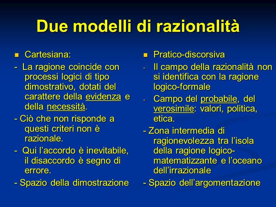 Due modelli di razionalità Cartesiana: Cartesiana: - La ragione coincide con processi logici di tipo dimostrativo, dotati del carattere della evidenza e della necessità.