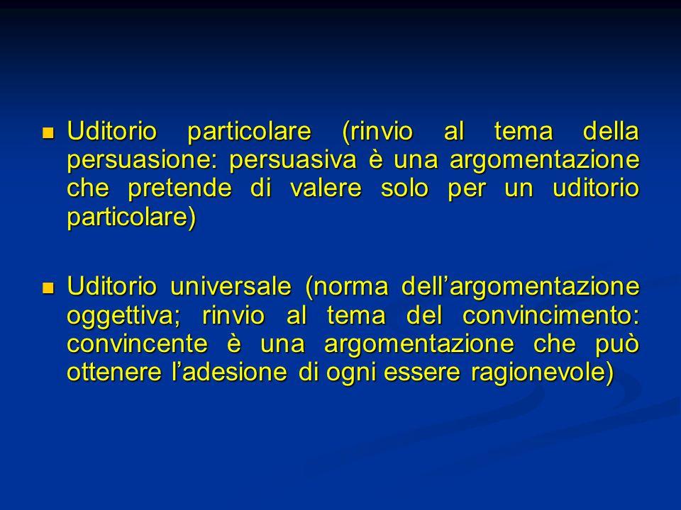 Uditorio particolare (rinvio al tema della persuasione: persuasiva è una argomentazione che pretende di valere solo per un uditorio particolare) Uditorio particolare (rinvio al tema della persuasione: persuasiva è una argomentazione che pretende di valere solo per un uditorio particolare) Uditorio universale (norma dellargomentazione oggettiva; rinvio al tema del convincimento: convincente è una argomentazione che può ottenere ladesione di ogni essere ragionevole) Uditorio universale (norma dellargomentazione oggettiva; rinvio al tema del convincimento: convincente è una argomentazione che può ottenere ladesione di ogni essere ragionevole)